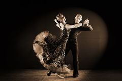 Dancers in ballroom isolated on black background Stock Photography