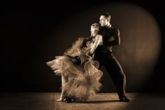 Dancers in ballroom isolated on black background Royalty Free Stock Photos