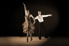 Dancers in ballroom isolated on black Royalty Free Stock Photos