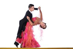 Dancers in ballroom isolated on white background Stock Photo