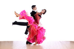 Dancers in ballroom on white background Stock Images