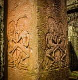 Dancers Bas-Relief in Angkor Wat Royalty Free Stock Photo