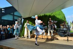 Dancers from Belorussia are exhibiting at the EXPO Milano 2015. Stock Photo