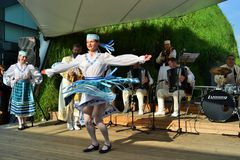 Dancers from Belorussia are exhibiting at the EXPO Milano 2015. Royalty Free Stock Photo