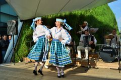 Dancers from Belorussia are exhibiting at the EXPO Milano 2015. Royalty Free Stock Image