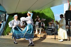Dancers from Belorussia are exhibiting at the EXPO Milano 2015. Stock Photography