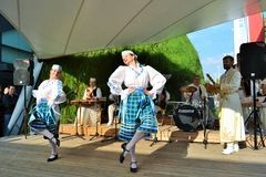 Dancers from Belorussia are exhibiting at the EXPO Milano 2015. Royalty Free Stock Photos