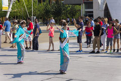 Dancers in blue dresses on the Japanese traditional parade on EXPO 2015 Stock Image