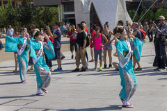 Dancers in blue dresses on the Japanese traditional parade on EXPO 2015 Royalty Free Stock Images