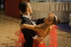Dancers:Calin Rusnac/ Andreea Maria Hogea (RO). Calin Rusnac/ Andreea Maria Hogea, ballroom dancers, 3rd place at the National Dance Contest, Cupa Romaniei, 25 Stock Photography