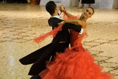 Dancers:Calin Rusnac and Andreea Maria Hogea (RO). Calin Rusnac/ Andreea Maria Hogea, ballroom dancers, 3rd place at the National Dance Contest, Cupa Romaniei Stock Images