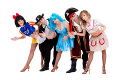Dancers in carnival costumes posing Stock Photography