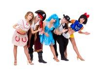 Dancers in carnival costumes posing Stock Images