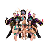 Dancers in carnival costumes posing Royalty Free Stock Photo