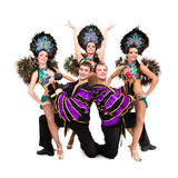 Dancers in carnival costumes posing Stock Photos
