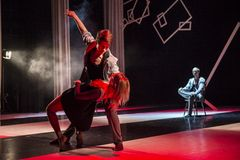Dancers of Caro Dance Theatre perform on stage Stock Photography