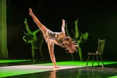 Dancers of Caro Dance Theatre perform on stage. SIEDLCE, POLAND 6 APRIL: Izabela Dabrowska of Caro Dance Theatre performs on stage at CKiS theatre on April 6 royalty free stock image
