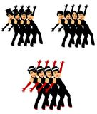 Dancers in chorus line. Dancers from play  in chorus line in 3 styles Royalty Free Stock Photo