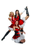 Dancers and Christmas. Attractive young dancers in Christmas costume isolated on white background Stock Photography