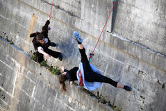 Dancers on the climbing rope Royalty Free Stock Photography