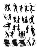 Dancers collection in silhouette. Large collection of dancers in silhouette Stock Photos