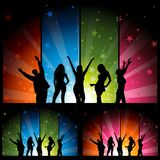 Dancers and Colorful Star Burst Banners vector illustration