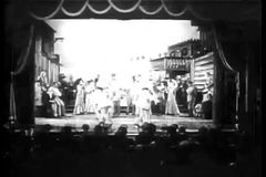 Dancers in costumes performing on stage stock video