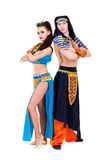 Dancers couple dressed in Egyptian costumes posing Stock Images