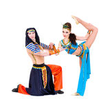 Dancers couple dressed in Egyptian costumes posing Royalty Free Stock Photography