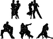 Dancers,couple, graphics, tango, dance. Couples dance a tango, illustration with  set, black, white, silhouette Royalty Free Stock Images