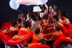 Dancers of dance school during performances ballet. Thessaloniki, Greece, April 26 2016: Unidentified dancers of dance school during performances ballet state Stock Photo