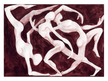 Dancers dancing. Illustration of three dancers intertwined vector illustration