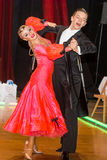 Dancers dancing slow waltz on the dance conquest Royalty Free Stock Image
