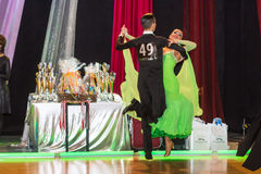 Dancers dancing slow waltz on the dance conquest Royalty Free Stock Images
