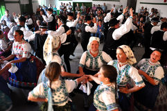 Dancers dancing in traditional Slovak clothes Royalty Free Stock Images