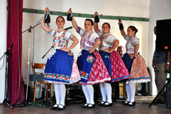 Dancers dancing in traditional Slovak costumes Royalty Free Stock Image