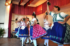 Dancers dancing in traditional Slovak costumes Royalty Free Stock Images