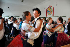 Dancers dancing in traditional Slovak costumes Stock Image