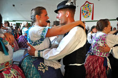 Dancers dancing in traditional Slovak costumes Royalty Free Stock Photography