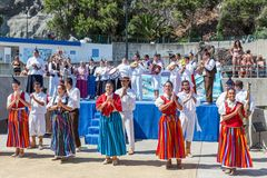 Dancers demonstrating a folk dance at the beach of Funchal, Madeira Island Stock Photography