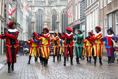 Dancers dressed as Zwarte Piet Royalty Free Stock Photo