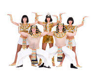 Dancers dressed in Egyptian costumes posing Stock Photos