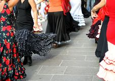 Dancers expert and Spanish dance with elegant period costumes Royalty Free Stock Photos