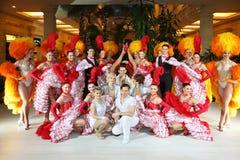 Dancers of famous Parisian cabaret Moulin Rouge Stock Photo