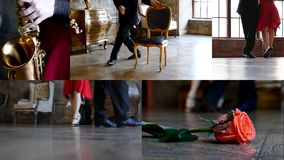 Dancers feet in hall. Dancers feet and sax in dancing hall stock video footage