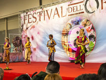 Dancers at the Festival of the Orient in Rome Italy. The Festival of the Orient was held at the Exhibition Centre near Rome Airport at Fumincino on the outskirts Royalty Free Stock Image