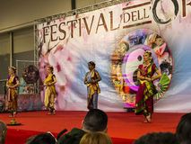 Dancers at the Festival of the Orient in Rome Italy. The Festival of the Orient was held at the Exhibition Centre near Rome Airport at Fumincino on the outskirts Stock Images