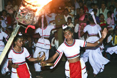 Dancers at the festival Pera Hera in Candy. CANDY, SRI LANKA - August 12: dancers participate the festival Pera Hera in Candy to celebrate the tooth of Buddha Stock Image