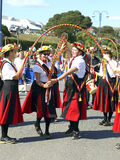 Dancers at the folk festival, Swanage. Folk dancers enjoying dancing at the Swanage Folk festival. Isle of Purbeck. Dorset, England, UK Royalty Free Stock Image