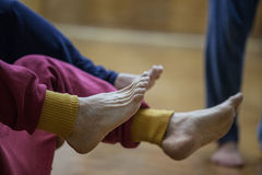 Dancers foot. 2 pair leg dancers.foot royalty free stock photo